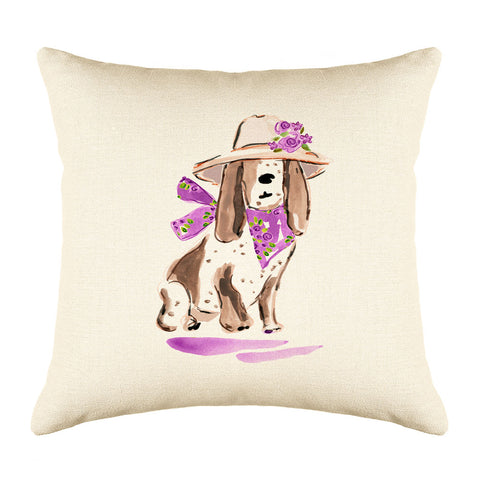 Betsy Basset Throw Pillow Cover - Dog Illustration Throw Pillow Cover Collection-Di Lewis