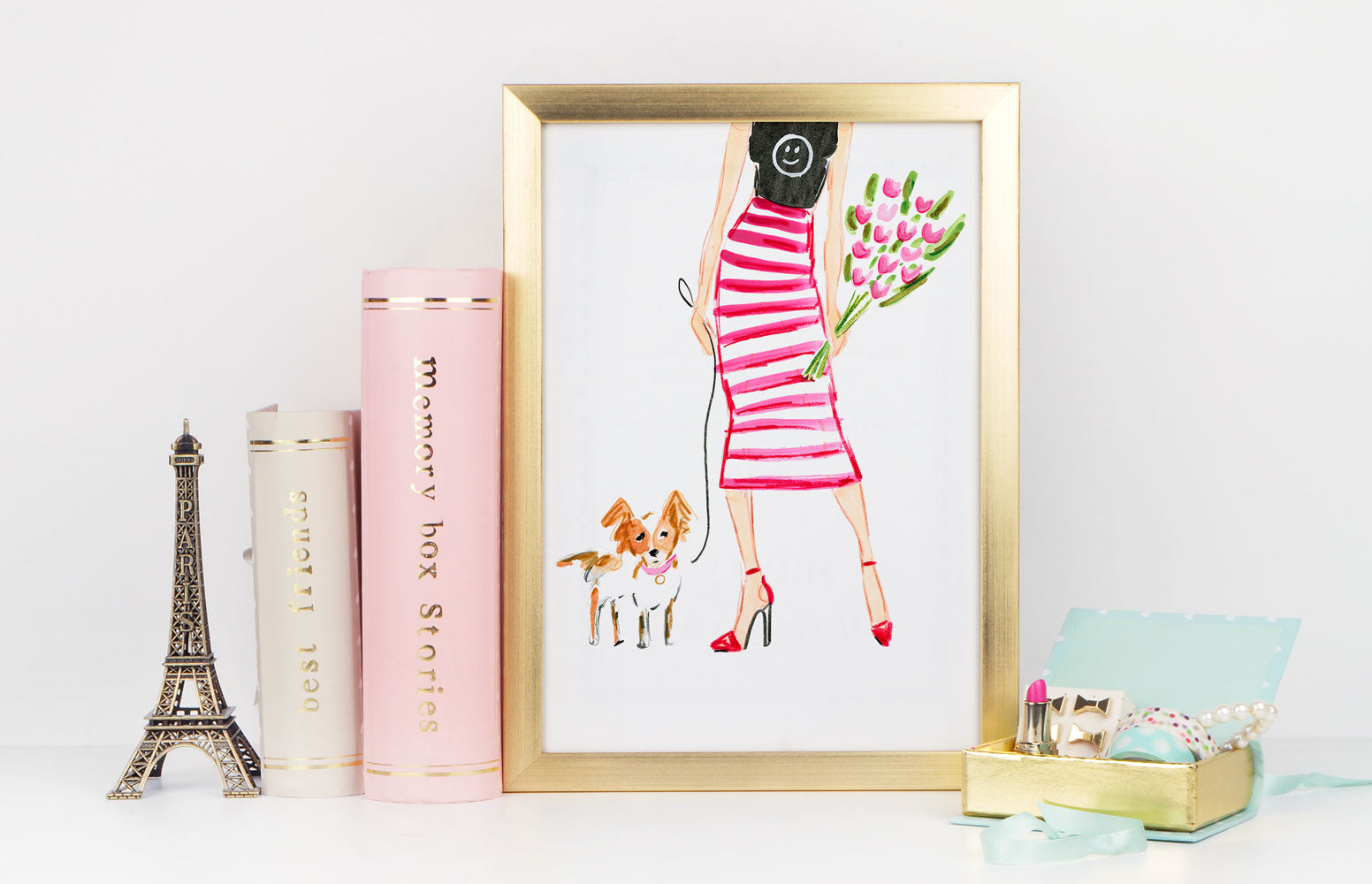 "Watercolor Fashion Illustration ""Be Happy"""