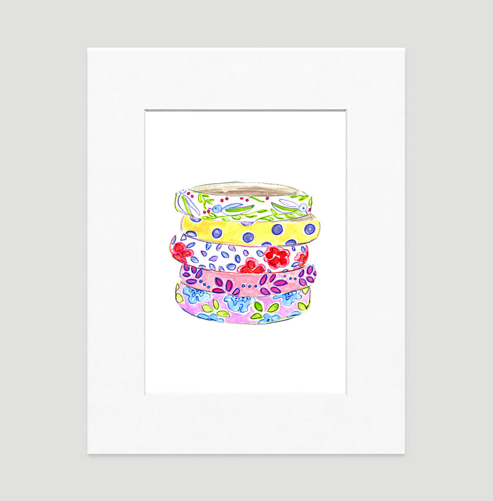 Beach Bangles Art Print - Fashion Illustration Wall Art Collection-Di Lewis