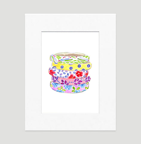 Beach Bangles Art Print - Fashion Illustration Wall Art Collection-Matted-Di Lewis
