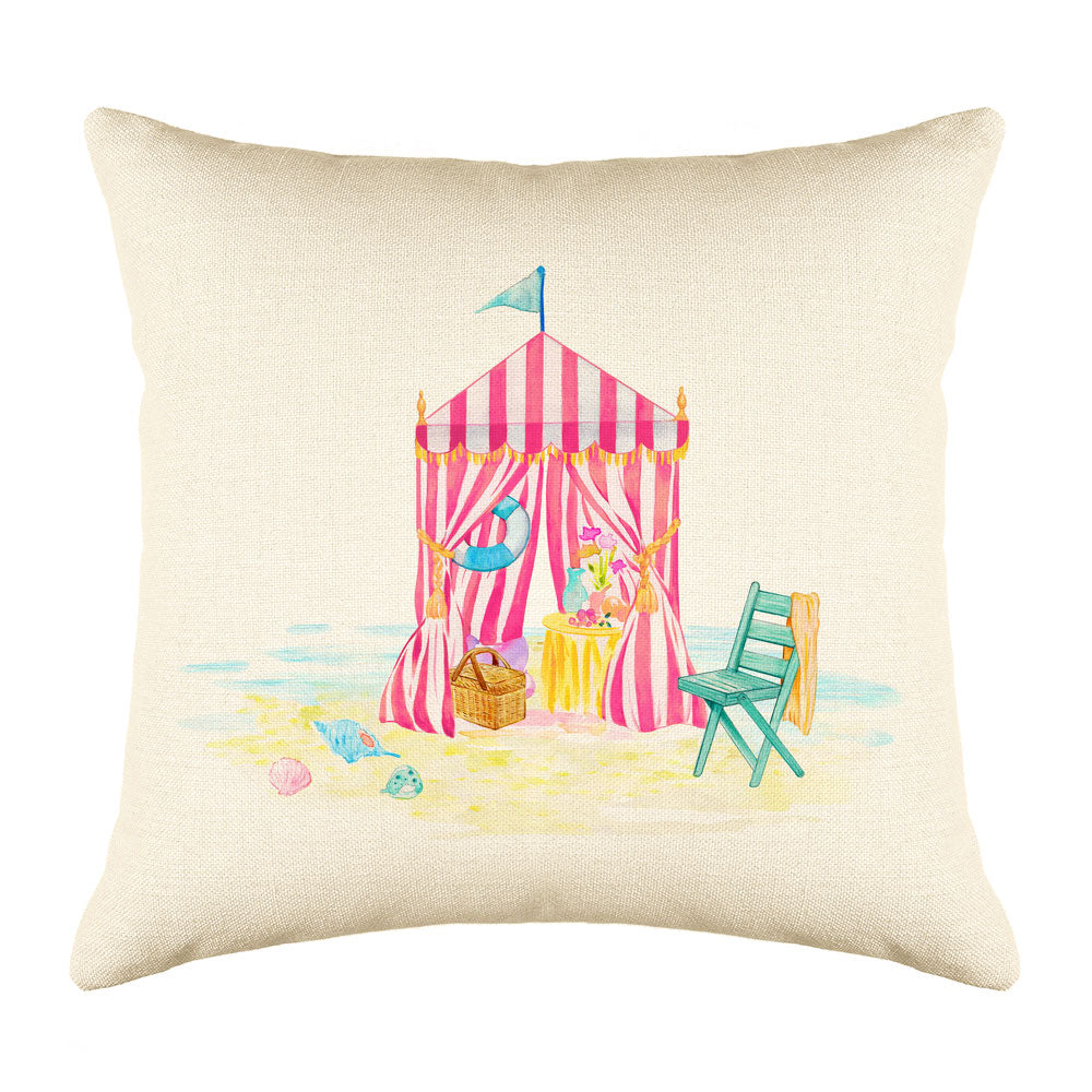 Beach Tent Throw Pillow Cover - Coastal Designs Throw Pillow Cover Collection-Di Lewis