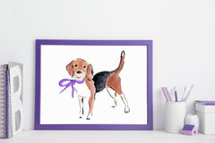 Barney Beagle Art Print - Dog Illustrations Wall Art Collection-Di Lewis