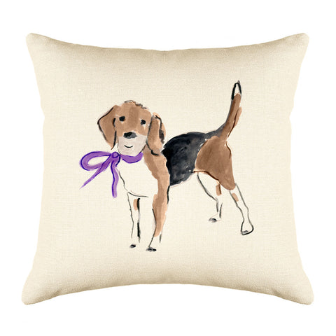 Barney Beagle Throw Pillow Cover - Dog Illustration Throw Pillow Cover Collection