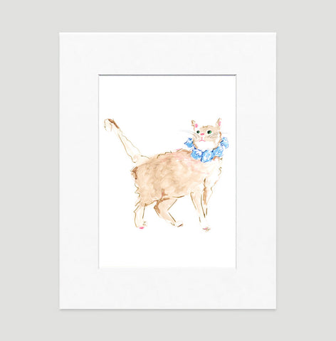 Orange Cat Art Print - Cat Illustrations Wall Art Collection-Di Lewis