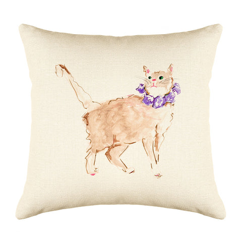 Lucy Throw Pillow Cover - Cat Illustrations Throw Pillow Cover Collection