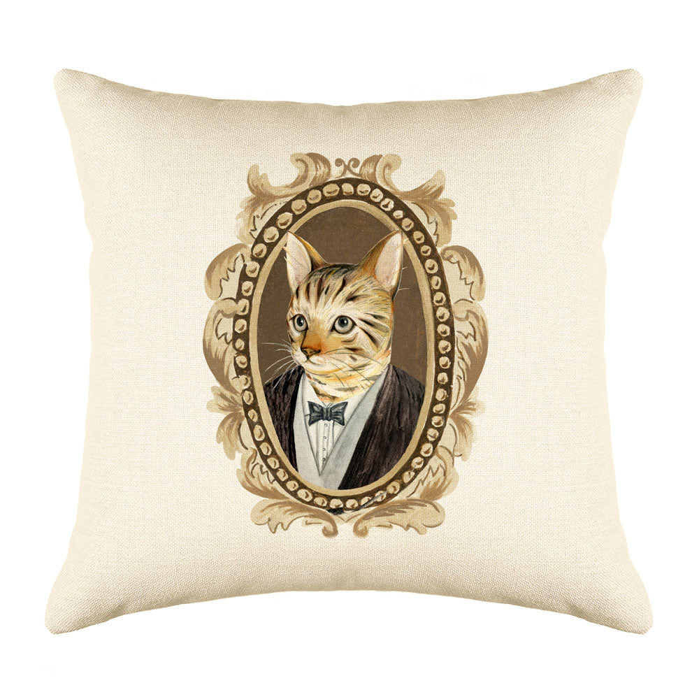 Bengal Cat Portrait Throw Pillow Cover - Cat Illustration Throw Pillow Cover Collection-Di Lewis