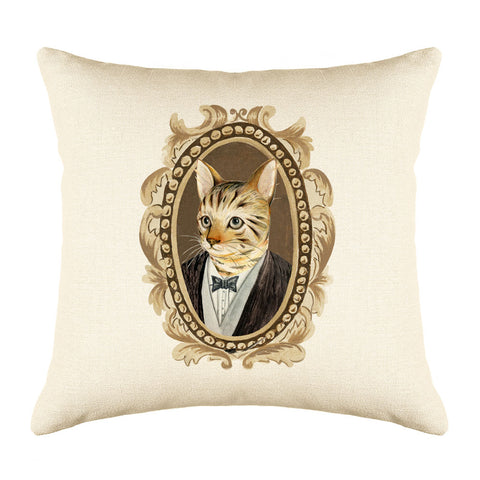 Bengal Cat Throw Pillow Cover - Cat Illustration Throw Pillow Cover Collection