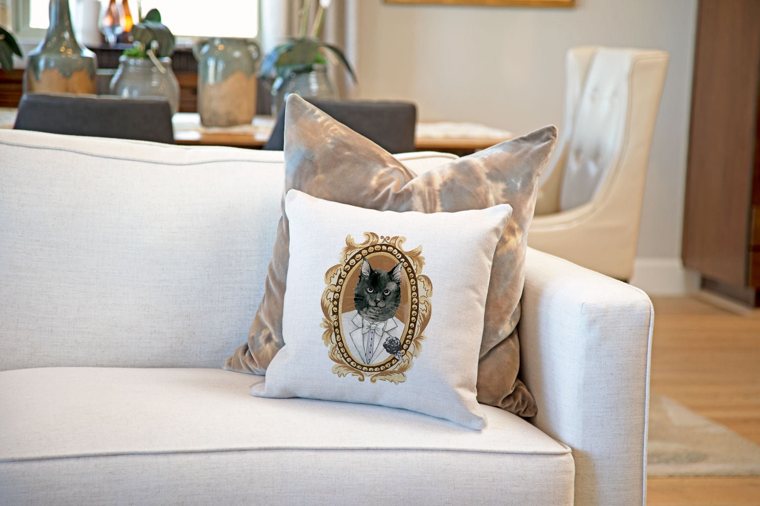 Black Cat Portrait Throw Pillow Cover - Cat Illustration Throw Pillow Cover Collection-Di Lewis