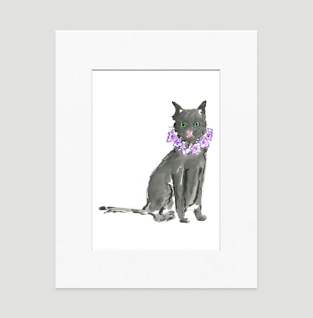 Black Cat Print - Cat Illustrations Wall Art Collection-Di Lewis