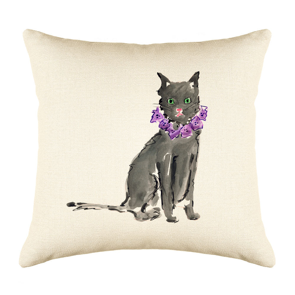 Black Cat Throw Pillow Cover - Cat Illustration Throw Pillow Cover Collection-Di Lewis