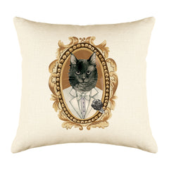 Black Cat Portrait Throw Pillow Cover - Cat Illustration Throw Pillow Cover Collection