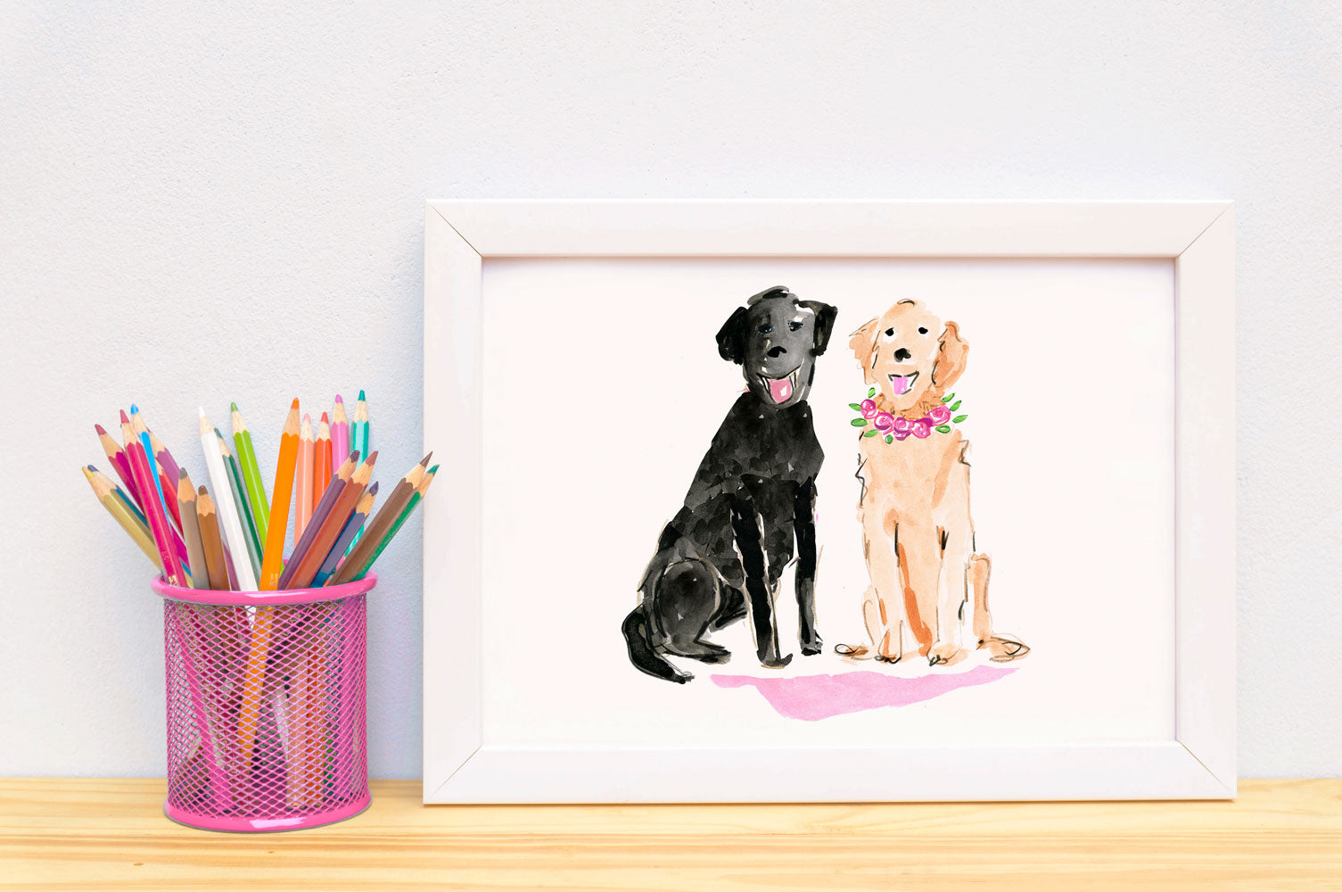 Lucy & Larry Labrador Art Print - Dog Illustrations Wall Art Collection-Room Setting-Di Lewis
