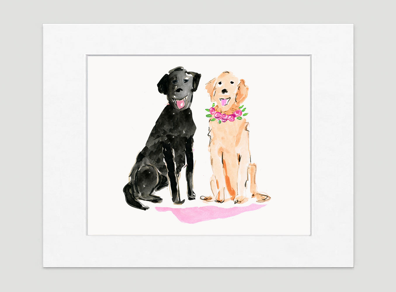 Lucy & Larry Labrador Art Print - Dog Illustrations Wall Art Collection-Di Lewis