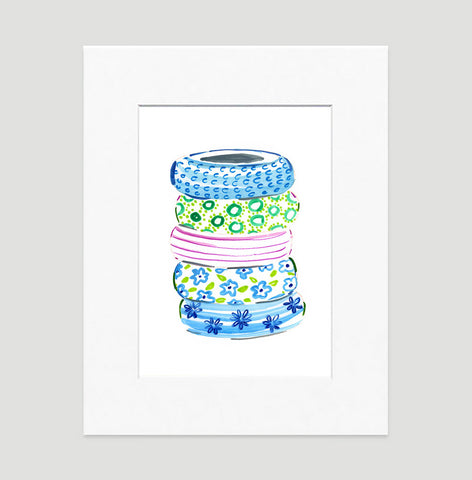 Blue Bangles Art Print - Fashion Illustration Wall Art Collection-Matted-Di Lewis