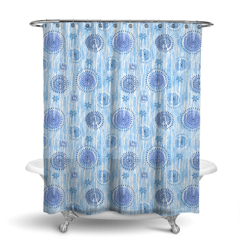 BOCA - ABSTRACT SHOWER CURTAIN - BLUE - GEOMETRIC DESIGN