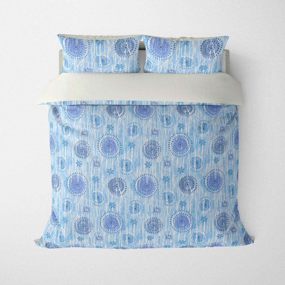 ABSTRACT DUVET COVERS & BEDDING SETS - BOCA BLUE - GEOMETRIC DESIGN - HYPOALLERGENIC