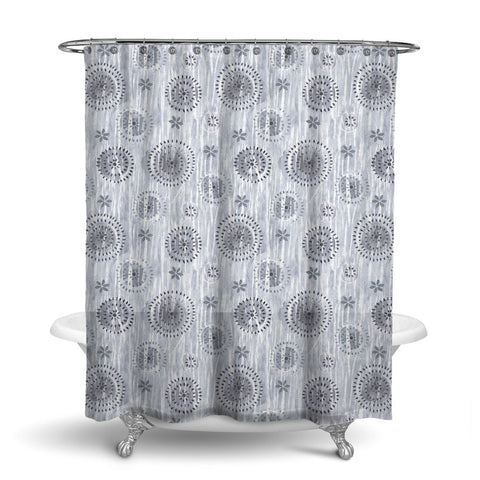 BOCA - ABSTRACT SHOWER CURTAIN - SMOKE GREY - GEOMETRIC DESIGN