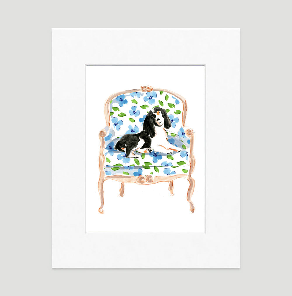Mr. Bojangles The Spaniel Art Print - Dog Illustrations Wall Art Collection-Matted-Di Lewis