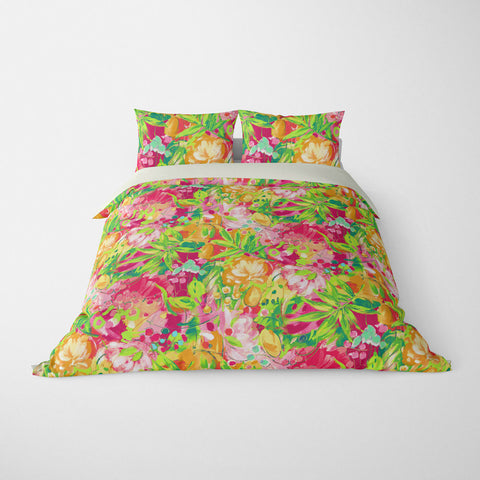 TROPICAL  DUVET COVERS & BEDDING SETS - BORA BORA CORAL  - TROPICAL LEAVES  - HYPOALLERGENIC