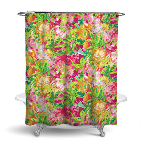 BORA BORA - TROPICAL SHOWER CURTAIN - CORAL - TROPICAL LEAVES & FLOWERS