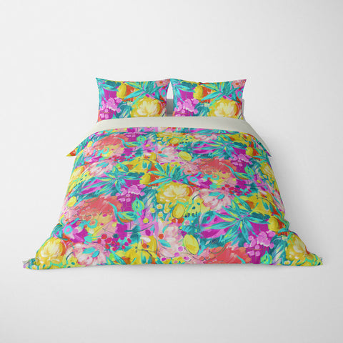 TROPICAL  DUVET COVERS & BEDDING SETS - BORA BORA TROPICAL  - TROPICAL LEAVES  - HYPOALLERGENIC