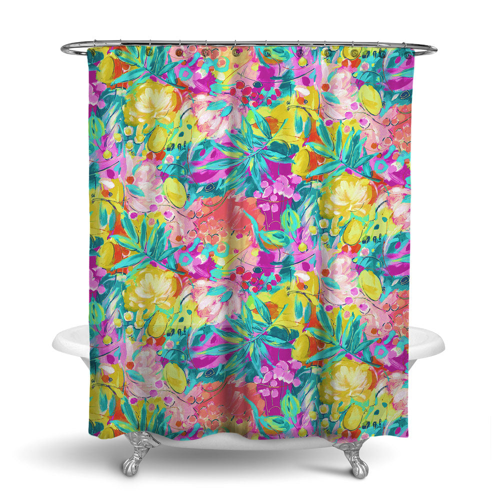 BORA BORA - TROPICAL SHOWER CURTAIN - TROPICAL - TROPICAL LEAVES & FLOWERS