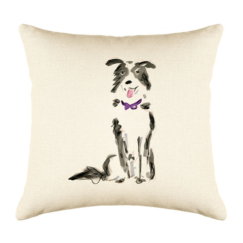 Benji Border Collie Throw Pillow Cover - Dog Illustration Throw Pillow Cover Collection