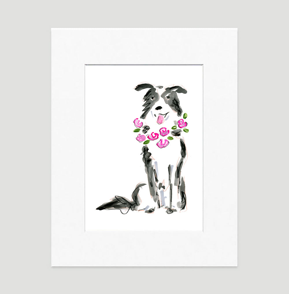 Buddy Border Collie Art Print - Dog Illustrations Wall Art Collection-Di Lewis