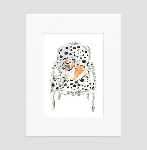 Boris The Bulldog Art Print - Dog Illustrations Wall Art Collection-Di Lewis