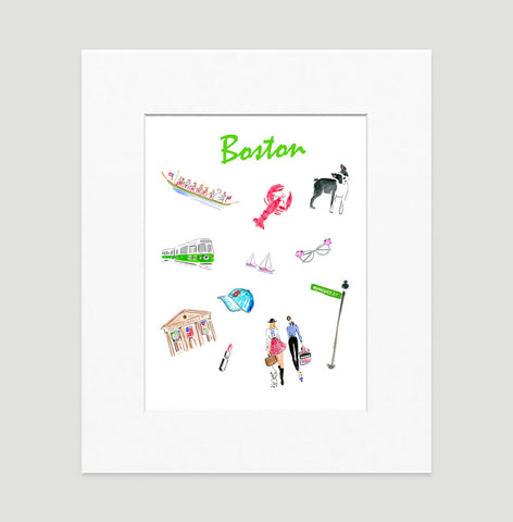 Boston Art Print - Travel Print Wall Art Collection-Matted-Di Lewis