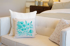 Turquoise Botanical Floral Throw Pillow Cover - Decorative Designs Throw Pillow Cover Collection