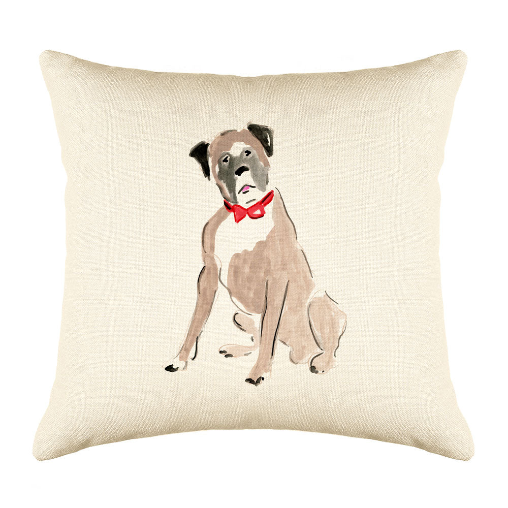 Bobby Boxer Throw Pillow Cover - Dog Illustration Throw Pillow Cover Collection-Di Lewis