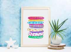 "Watercolor Fashion Illustration ""Bright Bangles"""