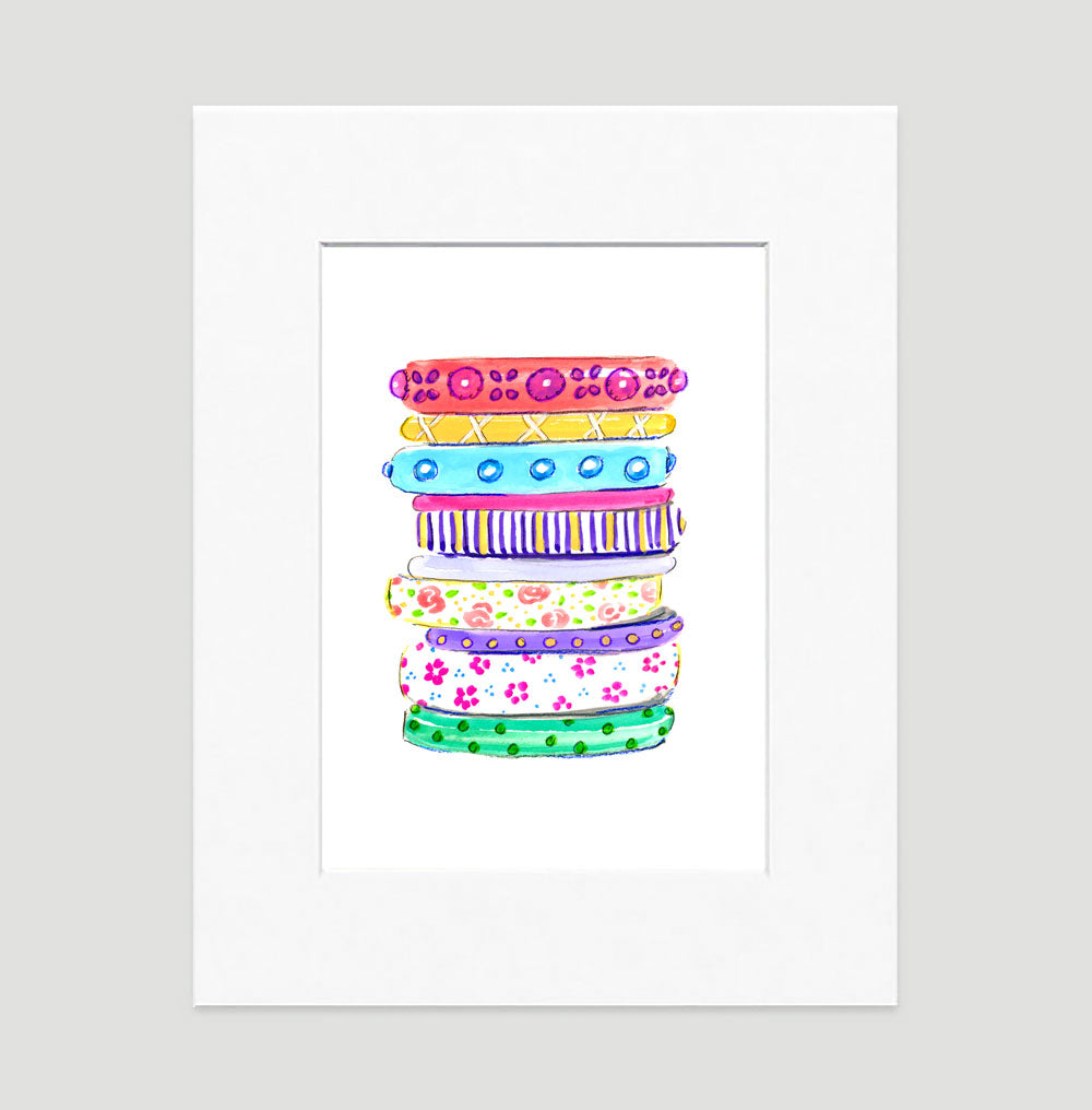 Bright Bangles Art Print - Fashion Illustration Wall Art Collection-Matted-Di Lewis
