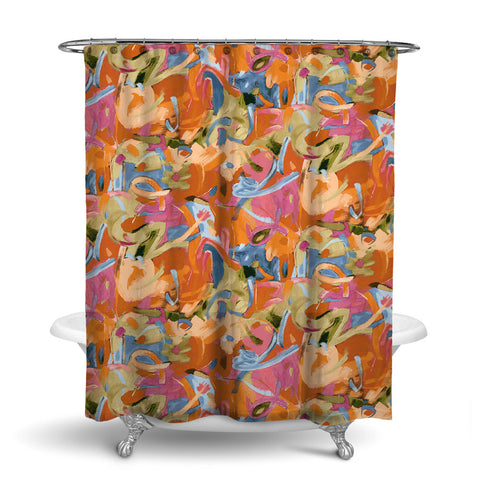 BRUSHSTROKES - ABSTRACT SHOWER CURTAIN - ORANGE - CONTEMPORARY DESIGN
