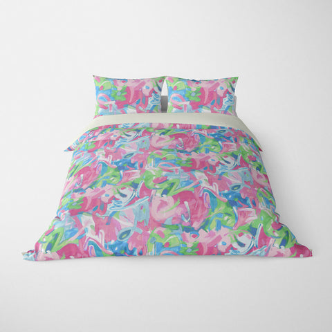 BRUSHSTROKES ABSTRACT DUVET COVER PASTEL JADE – DUVET COVER & PILLOW SHAM COLLECTION