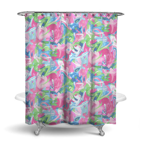 BRUSHSTROKES - ABSTRACT SHOWER CURTAIN - PASTEL JADE - CONTEMPORARY DESIGN