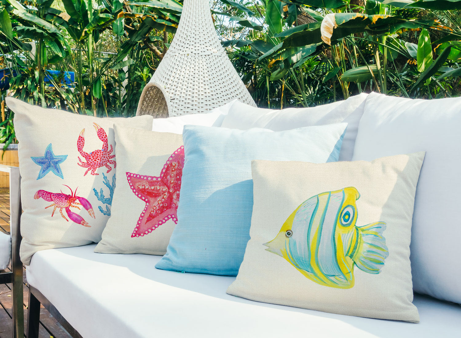 Butterflyfish Throw Pillow Cover - Coastal Designs Throw Pillow Cover Collection