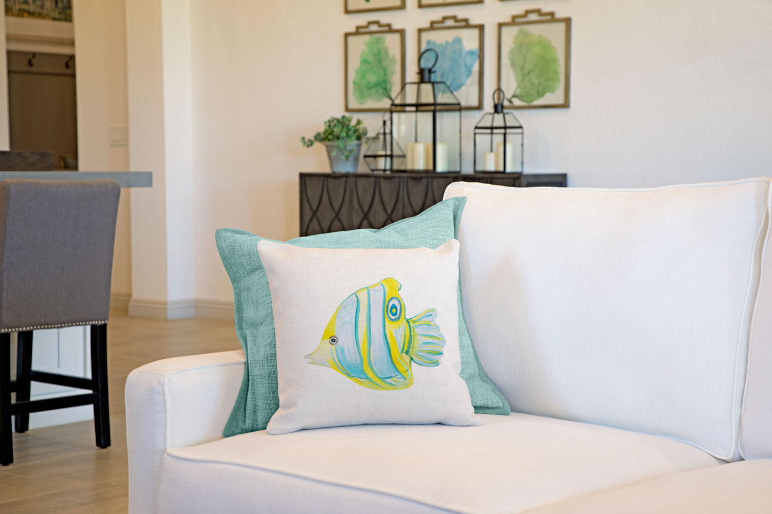 Butterflyfish Throw Pillow Cover - Coastal Designs Throw Pillow Cover Collection-Di Lewis