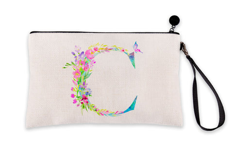 Floral Watercolor Monogram Letter C Makeup Bag