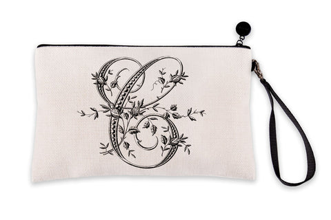 Vintage French Monogram Letter C Makeup Bag
