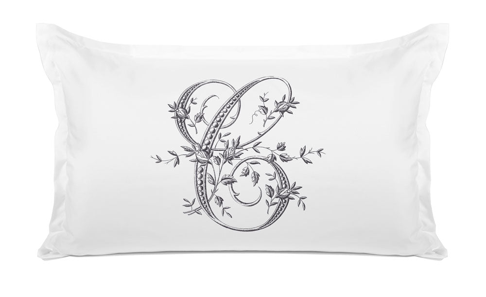 Vintage French Monogram Letter C Pillowcase