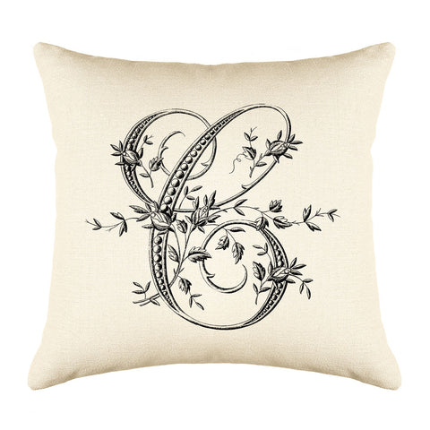 Vintage French Monogram Letter C Throw Pillow Cover