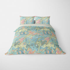 ABSTRACT DUVET COVERS & BEDDING SETS - CARNIVALE AQUA CORAL - GEOMETRIC DESIGN - HYPOALLERGENIC