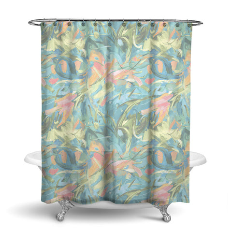 CARNIVALE ABSTRACT SHOWER CURTAIN AQUA CORAL – SHOWER CURTAIN COLLECTION