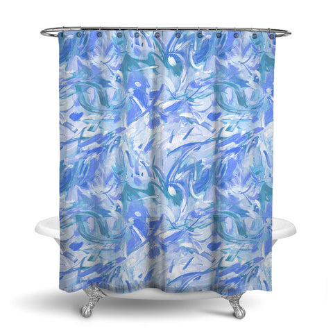 CARNIVALE ABSTRACT SHOWER CURTAIN MARINE – SHOWER CURTAIN COLLECTION