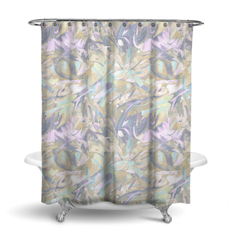 CARNIVALE - ABSTRACT SHOWER CURTAIN - NATURAL - CONTEMPORARY DESIGN