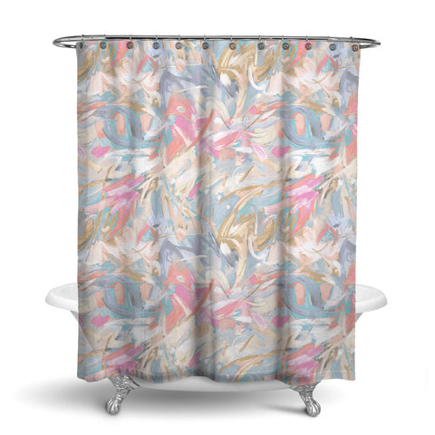 CARNIVALE - ABSTRACT SHOWER CURTAIN - PEACH - CONTEMPORARY DESIGN