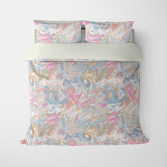 ABSTRACT DUVET COVERS & BEDDING SETS - CARNIVALE PEACH - GEOMETRIC DESIGN - HYPOALLERGENIC