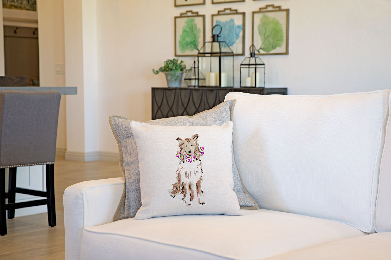 Coco Collie Throw Pillow Cover - Dog Illustration Throw Pillow Cover Collection-Di Lewis